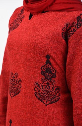 Robe Coton a Motifs 3333-01 Rouge 3333-01