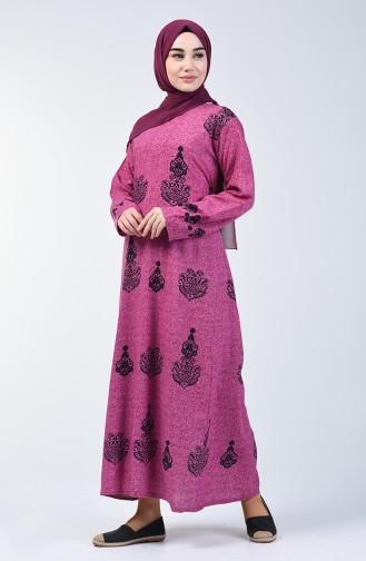 Cotton Patterned Dress 3333-02 Damson 3333-02