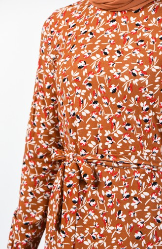 Desenli Kuşaklı Elbise 0365-03 Taba