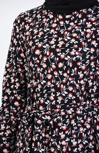 Desenli Kuşaklı Elbise 0365-05 Siyah Kırmızı