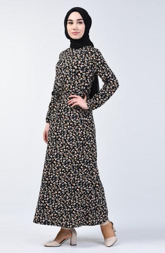 Desenli Kuşaklı Elbise 0365-06 Siyah Hardal 0365-06