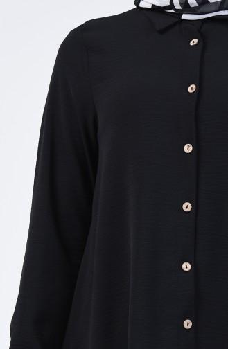 Aerobin Kumaş Düğmeli Tunik 1426-06 Siyah