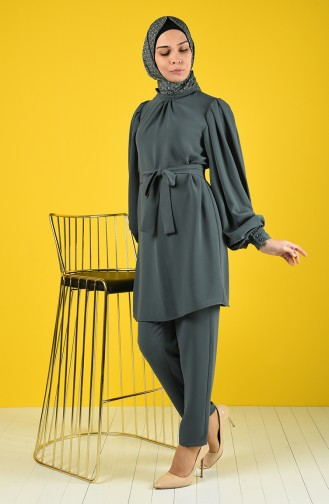 Tunic with Belt Trousers Double Set 1427-03 Green Almond 1427-03