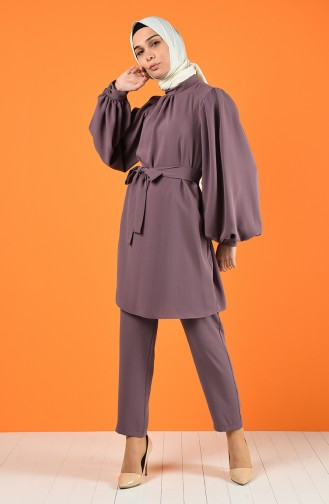 Tunic with Belt Trousers Double Set 1427-04 Dry Rose 1427-04