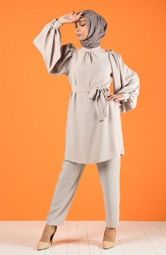 Kuşaklı Tunik Pantolon İkili Takım 1427-05 Bej