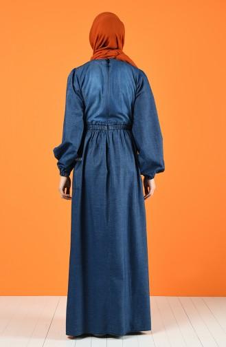 Nakışlı Kot Elbise 8004-01 Lacivert