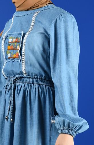 Nakışlı Kot Elbise 8004-02 Kot Mavi