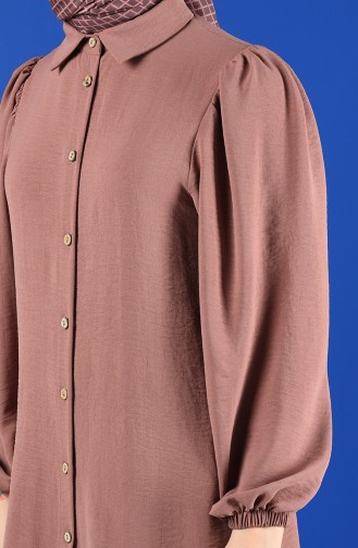 Button-up Tunic with Elastic Sleeve 1422-07 Dry Rose 1422-07