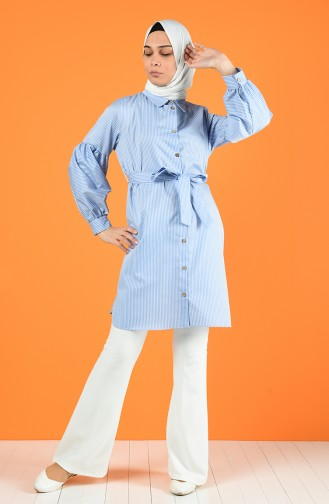 Striped Tunic with Belt 1429-04 Light Blue 1429-04