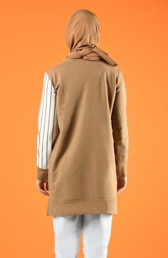 Çizgili Spor Tunik 0847-01 Camel
