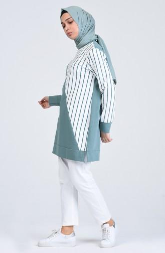 Striped Sport Tunic 0847-02 Almond Green 0847-02