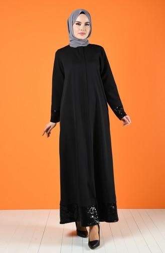 Sequined Abaya 8071-01 Black 8071-01