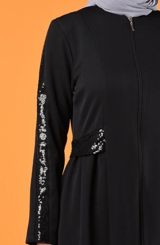 Payetli Ferace 8125-01 Siyah