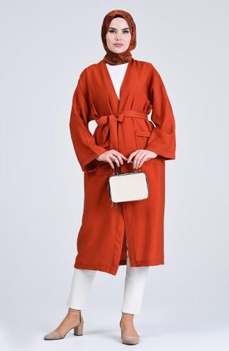 Kimono Kol Cepli Hırka 5301-02 Kiremit