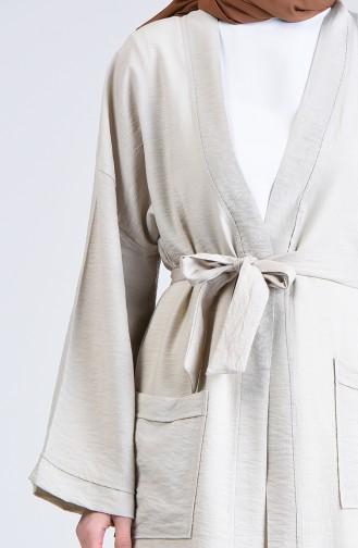 Kimono-Ärmel Strickjacke mit Tasche  5301-04 Grau Weiss 5301-04