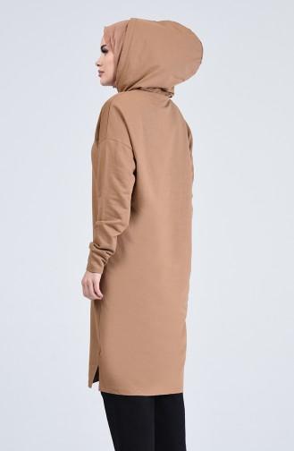 Cepli Uzun Spor Tunik 0819-01 Camel
