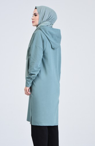 Long Sport Tunic with Pockets Set-05 Almond Green 0819-05