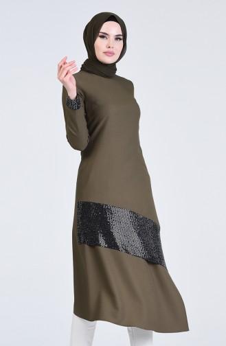 Sequin Fabric Long Tunic 5124-05 Khaki 5124-05