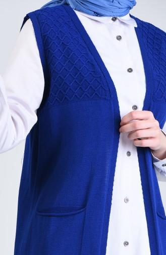 سترة بدون اكمام صوفية بتصميم جيوب لون نيلي  4206-02