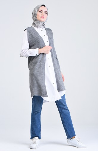 Knitwear Vest with Pockets 4206-03 Gray 4206-03