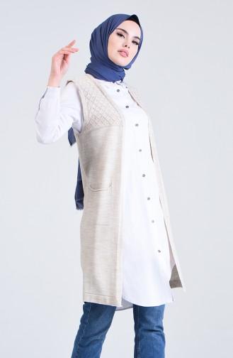 Knitwear Vest with Pockets 4206-06 Beige 4206-06