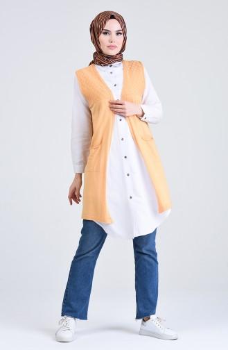 سترة بدون اكمام صوفية بتصميم جيوب لون مشمشي  4206-08