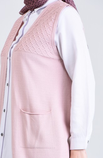 Knitwear Vest with Pockets 4206-10 Pink 4206-10