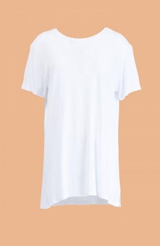 Kısa Kol Tshirt 1001-02 Beyaz