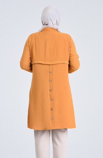 Plus Size Aerobin Fabric Necklaced Tunic 0224-01 Mustard 0224-01