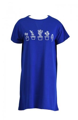 Baskılı Tshirt 8133-07 Saks