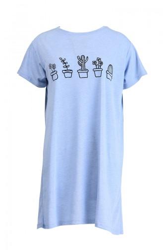 Baskılı Tshirt 8133-12 Buz Mavisi