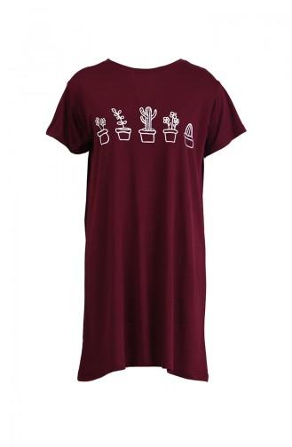Baskılı Tshirt 8133-14 Bordo