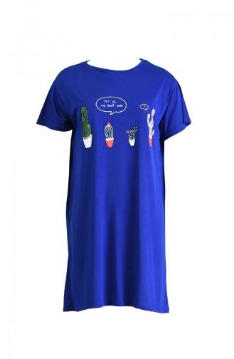 Baskılı Uzun Tshirt 8134-07 Saks