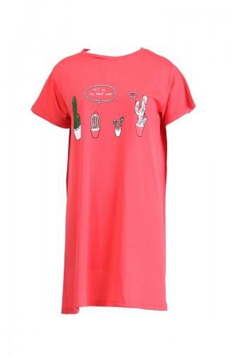 Baskılı Uzun Tshirt 8134-10 Nar Çiçeği