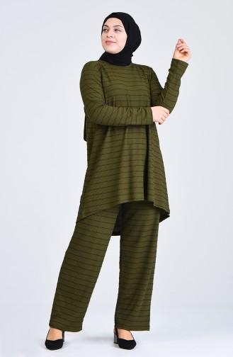 Büyük Beden Çizgili Tunik Pantolon İkili Takım 5925A-02 Haki