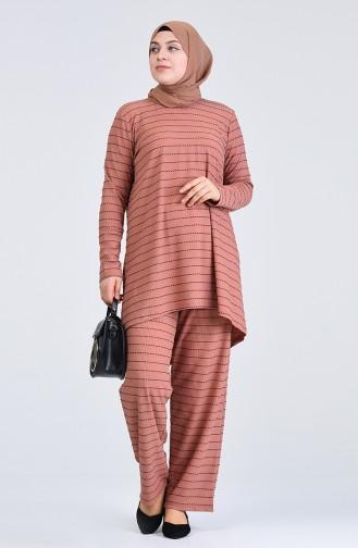 Büyük Beden Çizgili Tunik Pantolon İkili Takım 5925A-05 Pudra