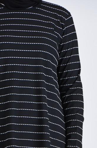 Büyük Beden Çizgili Tunik Pantolon İkili Takım 5925A-07 Siyah