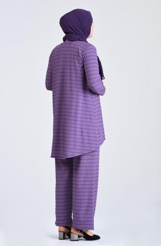 Büyük Beden Çizgili Tunik Pantolon İkili Takım 5925A-08 Lila