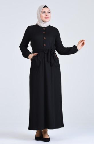 Büyük Beden Düğme Detaylı Elbise 6048-01 Siyah