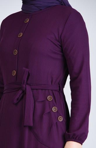 Büyük Beden Düğme Detaylı Elbise 6048-03 Mor