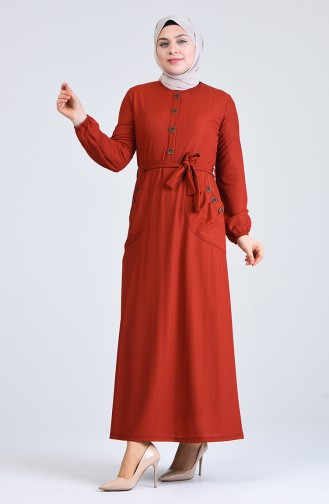 Büyük Beden Düğme Detaylı Elbise 6048-04 Kiremit