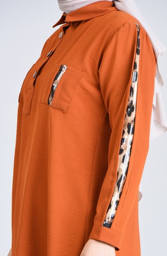 Plus Size Leopard Topped Scaly Tunic 0223-06 Mustard 0223-06