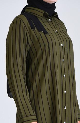 Plus Size Striped Tunic 0246-03 Khaki 0246-03