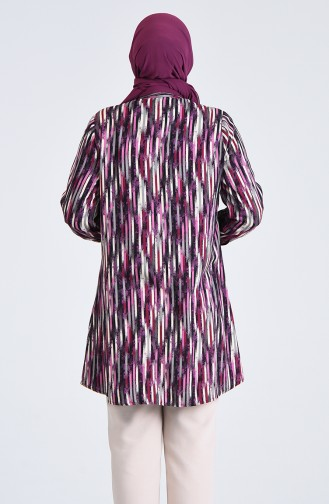 Plus Size Patterned Tunic 2048-01 Purple 2048-01