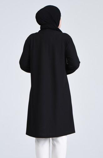 Büyük Beden Kuş Gözü Detaylı Tunik 6057-04 Siyah