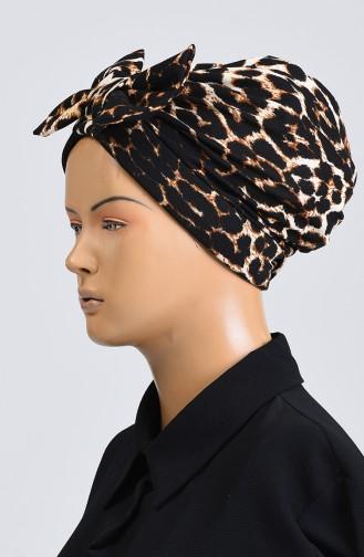 Leopard Print Bow Bonnet 1090-01 Brown Black 1090-01