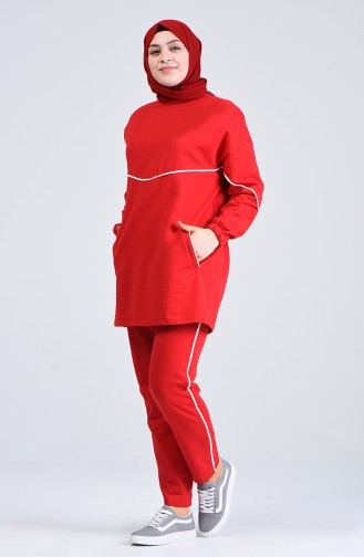 Plus Size Striped Tracksuit 0802-01 Red 0802-01