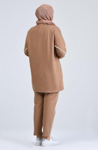 Büyük Beden Şeritli Eşofman Takım 0802-03 Camel