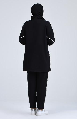 Büyük Beden Şeritli Eşofman Takım 0802-04 Siyah