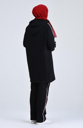 Plus Size Hooded Tracksuit Set 0843-03 Black 0843-03